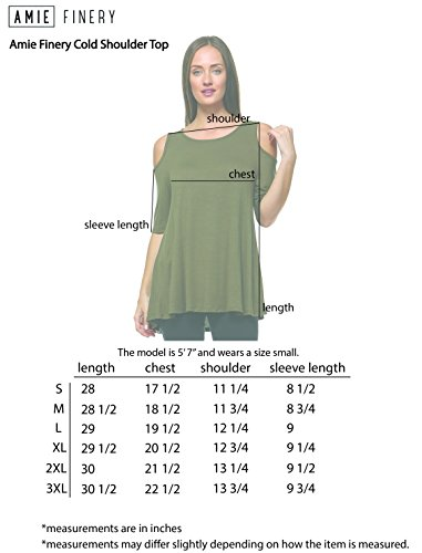 16694db10701c Amie Finery Cold Shoulder Tops for Women Open Shoulder Tunic Tops for  Leggings Made in USA Large Hunter Green  Amazon.ca  Clothing   Accessories