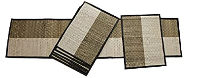 SouvNear Placemats + Table Runner & Coaster Mats Dinnerware Decor - Set of 6 Stripped Table Mats and Coasters with 1 Table Runner - Natural Handmade Dining Table Decorations Accessories