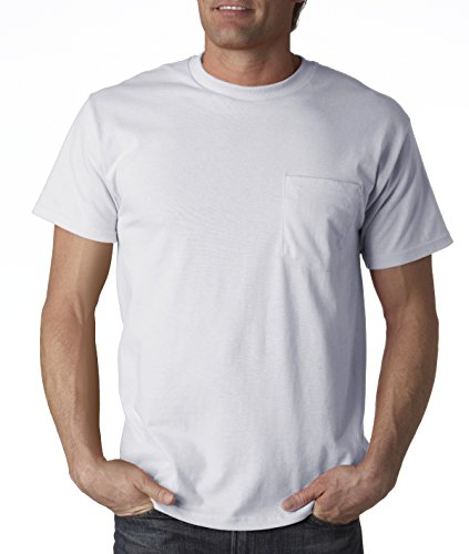 5.6 Ounce Garment - Fruit of the Loom 5.6 oz Cotton Pocket T-Shirt - ASH - X-Large