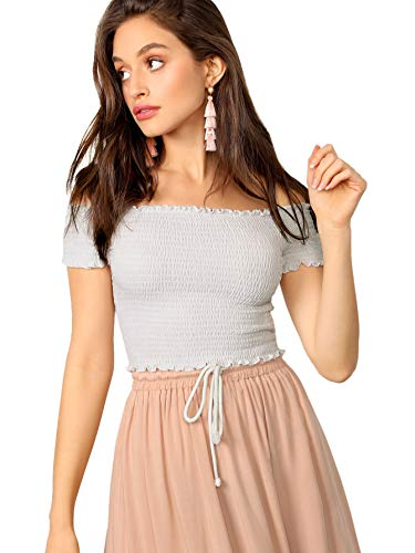 (SOLY HUX Women's Off Shoulder Short Sleeve Shirred Crop Top Smocked Tee Shirts White S)