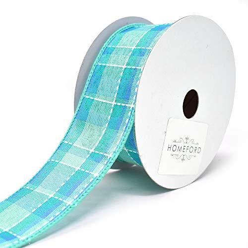 Homeford Iris Dash Plaid Wired Ribbon, Aqua, 1-1/2-Inch, 10-Yard