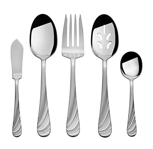 45-Piece Stainless Steel Dishwasher Safe Swirl Frost Flatware Set (Service for 8)