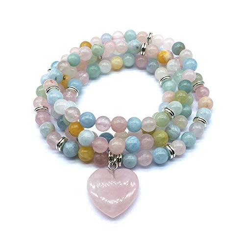 Zozu Natural Stone Beads Bracelets Elastic 74 cm Mala Yoga Necklace Labradorite Amazonite Heart Charm Drop Shipping (morganite silver)