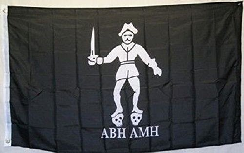 3x5 Jolly Roger Pirate Bartholomew Roberts ABH AMH Black Bart Flag 3'x5' banner House Banner Double Stitched Fade Resistant Premium Quality Black Bart The Pirate