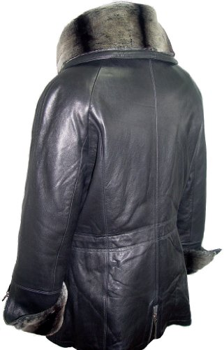 Paccilo 5008 Women Hooded Leather Coats Fake Fur The Parka Fine Soft Lamb by Paccilo (Image #2)