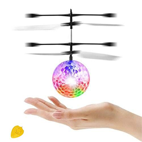 BANCHELLE Flying Toy Ball, RC Flying Toy Crystal LED Flashing Light Infrared Induction Helicopter Ball with Remote Controller (Transparent 01) -