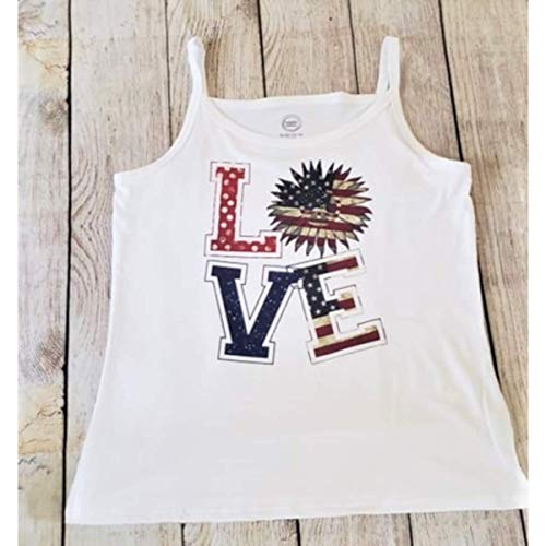 Patriotic Sunflower Love Cami Tank Top Wonder Nation Brand Size XL/XG 14-16 Plus Teen