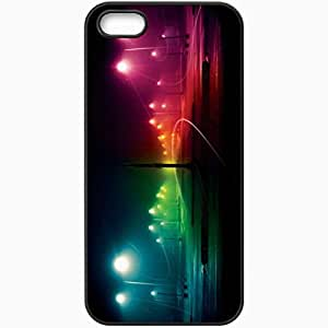 Protective Case Back Cover For iPhone 5 5S Case Night Rainbow Light Lantern Rain Black