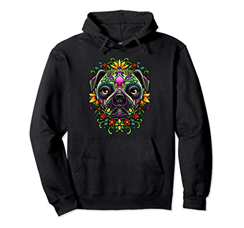 Day Of The Dead Pug Hoodie Detailed Colorful Illustration