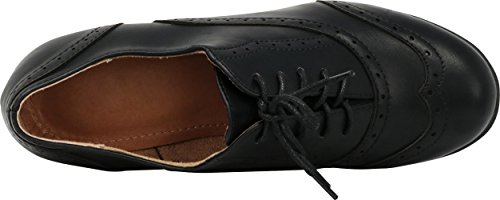 Select Pu Toe Inspired Stacked Lace up Oxford Round Mid Women's Wingtip Heel Vintage Cambridge Closed Black Pump dxwqgda