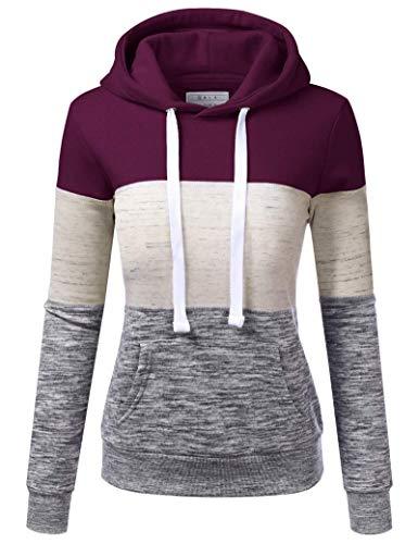 SotRong Vrouwen Hooded Sweater Kleurblok Lange Mouw Hoodie Sweatshirt met Pocket Hoody Casual Warm Lange Tops Fit voor…