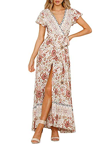 MEROKEETY Women's Summer Boho Floral Print Wrap V Neck Short Sleeves Split Beach Party Maxi Dress Ivory