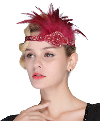 FAIRY COUPLE Vintage Feather Silver Pearl Beaded Headpiece 1920s Flapper Headband Red