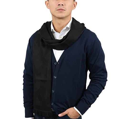 Versace IT00632 NERO Black 100% Wool Mens Scarf by Versace