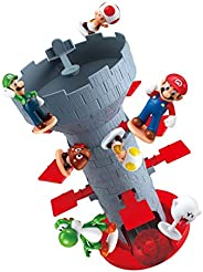 Epoch Games Super Mario Blow Up! Shaky Tower Balancing Game, Tabletop Skill and Action Game with Collectible S