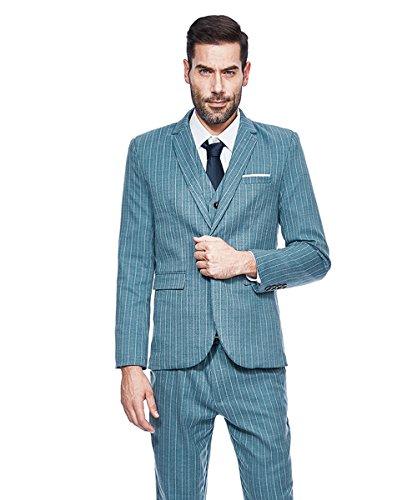 MAGE MALE Men's 3 Pieces Suit Pinstripe One-Button Slim Fit Stripe Single Breasted Notched Lapel Blazer Vest Pants Sets