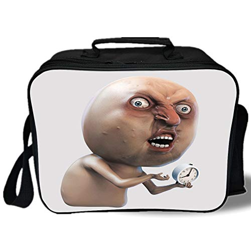 Insulated Lunch Bag,Humor Decor,Why You No Wake Me Up Internet Meme with Complaining Oversleep Face and Watch Image,Tan,for Work/School/Picnic, ()