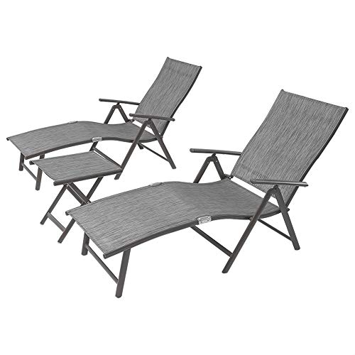 Crestlive Products Aluminum Beach Yard Pool Folding Recliner Adjustable Chaise Lounge Chair and Table Set All Weather for Outdoor Indoor, Brown Frame (Black & Gray) (Wicker Chairs White Lounge Chaise)