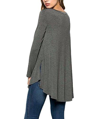 Auxo Mujer Blusa Casual Color Sólido Manga Larga T - shirt Tops Acortar Cintura Holgado Gris