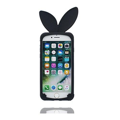 iPhone 6 Plus Custodia, TPU sicuro / Case iPhone 6s Plus Copertura / Shock Dust Resistant Shell iPhone 6 Plus Cover 5.5 e tappi antipolvere / Cartoon 3D coniglio Nero