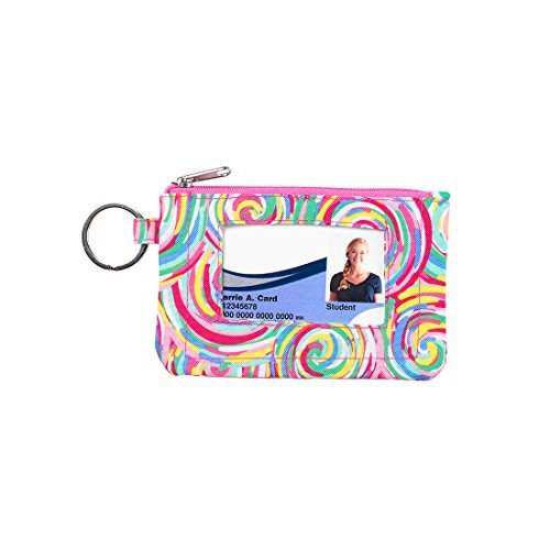 Summer Sorbet Swirl 5 x 3 Polyester Zipper Pouch Front Window Keyring ID Case