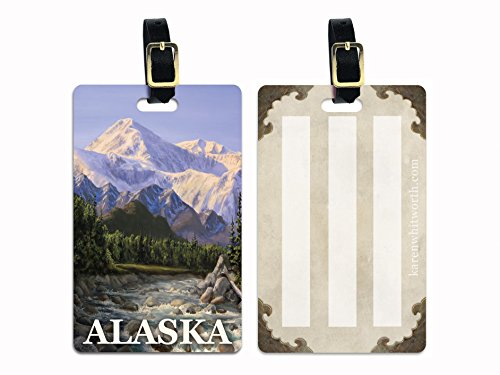 Alaska Denali Mountain and River Luggage Tag with Leather Buckle
