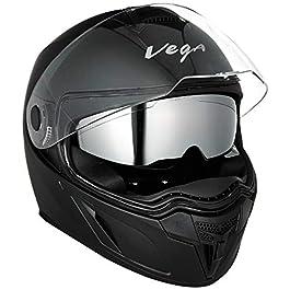 Vega Ryker D/V Full Face Helmet (Dull Black, M (58 cm))