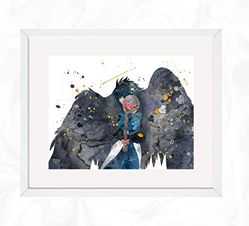 Howl and Sophie Prints, Howl's Moving Castle. Watercolor, Nursery Wall Poster, Holiday Gift, Kids and Children Artworks, Digital Illustration ()