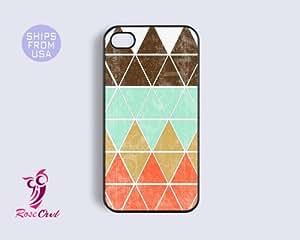 iphone 5s case, iphone 5s cover - Geometric Teal Orange Iphone Cases, Designe...