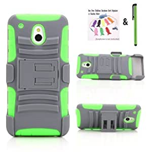 Quaroth NEW Rugged Armor Hybrid Hard and Soft Case w/ Belt Clip Holster for AT&T HTC One Mini (M4) (Grey/Green + Green...
