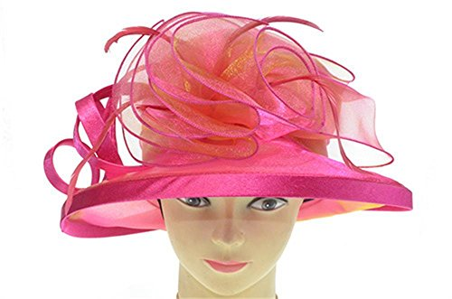 Organza Derby Hat with Shimmering Bow(coral)