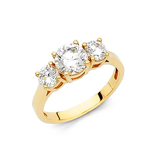 14k Yellow Gold 3 Band - Paradise Jewelers 14K Solid Yellow Gold Three Stone Round CZ Engagement Ring Anniversary Three Stone CZ Solitaire Band, Size 9.5