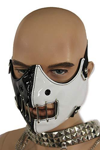 TFJ Men Mouth Muzzel Halloween Half Face Hannibal Mask S&m Costume Scary Black White ()