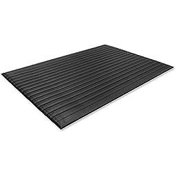 Genuine Joe Anti-Fatigue Mat with Vinyl Foam, Beveled Edge, 3 by 5-Feet, Black