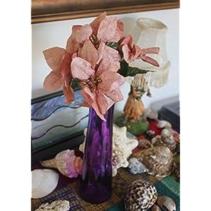 "Set of 2 13"" Velvet Sparkling Christmas Bush with Artificial 5"" Poinsettia Flowers (Rose Gold) 25"