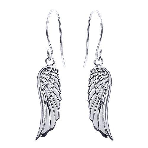925 Sterling Silver Angel Wing Drop Earrings