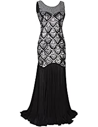 Womens 1920s Inspired Cap Sleeve Beaded Sequin Gatsby...