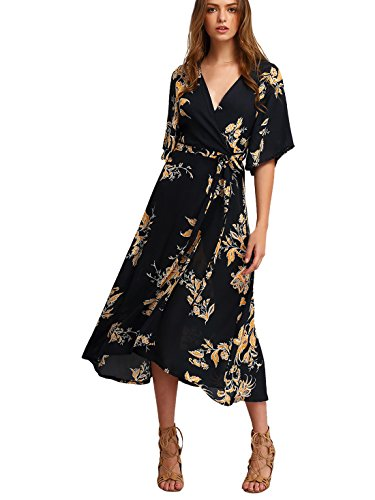 Milumia Women's Boho Deep V Neck Floral Chiffon Wrap Split Long Dress Black S