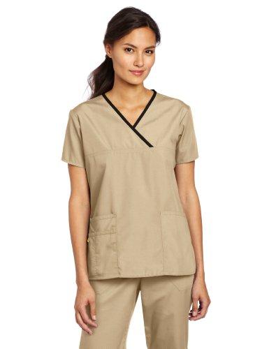 (WonderWink Women's Scrubs Charlie 5 Pocket Y-Neck Wrap Top, Khaki, 3X-Large)
