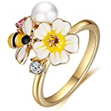 XZP Yellow White Enamel Flower Bee Rings for Women with CZ Fashion Gold Plated Ring Gifts (Size 7.75)