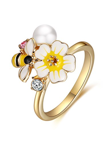 XZP Yellow White Enamel Flower Bee Rings for Women Made with Swarovski CZ Fashion Gold Plated Ring Girls Gifts (Size 7) ()