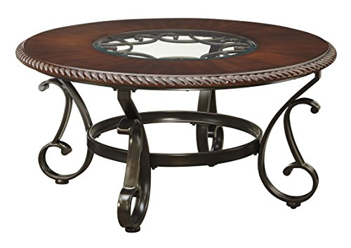 Round and Classic Style Coffee Table Made of Veneers & Manmade Wood & Metal & Glass in Cherry Color Add This In Your Home Now