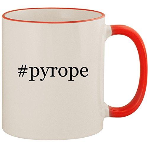 #pyrope - 11oz Ceramic Colored Handle & Rim Coffee Mug Cup, Red
