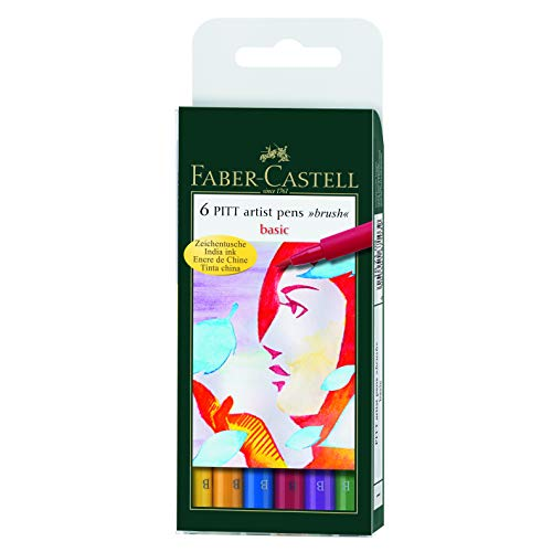 Faber-Castel PITT Artist Brush Pens, Basic, 6-Pack