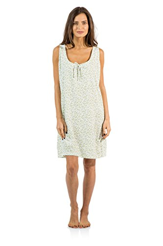 Casual Nights Women's Cotton Sleeveless Nightgown Chemise - Green - Large