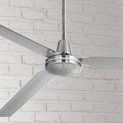 72″ Casa Velocity Modern Industrial Outdoor Ceiling Fan Brushed Nickel Wall Control Damp Rated