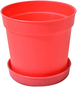Damda Plastic Planter Flower Pots with Saucer | Plant Planterior Home Modern Decorative Gardening Weightlight Durable Safety for Flowers Herbs Succulents Cactus (S, Red)