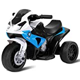 Costzon Kids Ride on Motorcycle, Licensed BMW 6V Battery Powered 3 Wheels Motorcycle Toy for Children Boys & Girls, Electric Ride on Motorcycle w/Headlights &Music, Pedal (Navy)