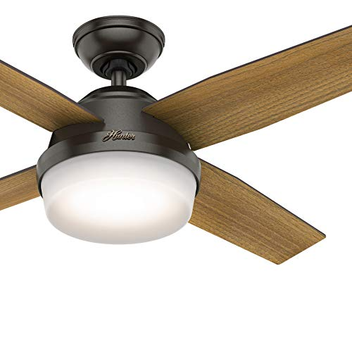 Hunter Fan 44 inch Contemporary Noble Bronze Indoor Ceiling Fan with LED Light Kit and Remote Control (Certified Refurbished)