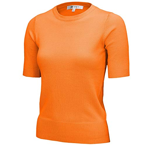 Women's Daily 1/2 Sleeve Slim-Fit Pullover Sweater Vintage Inspired MK3664-LOR-S Light Orange
